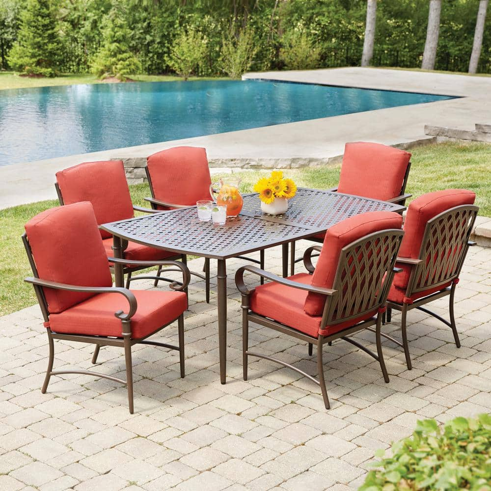 Hampton Bay Oak Cliff 10 Piece Metal Outdoor Dining Set with 10 Stationary  Chairs and Chili Cushions 11010 10 10D V10   The Home Depot