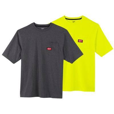 Men's Large Gray and High Visibility Heavy-Duty Cotton/Polyester Short-Sleeve Pocket T-Shirt (2-Pack)