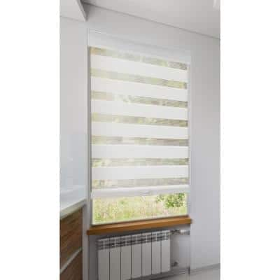 Zebra White Cordless Light Filtering Dual Layered Polyester Roller Shade 34 in. W x 72 in. L