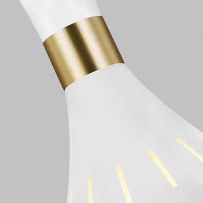 ED Ellen DeGeneres Crafted by Generation Lighting Joan Large 12 in. W 1-Light Matte White and Burnished Brass Pendant