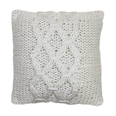 Georgia Geometric Ivory 20 in. x 20 in. Knit Decorative Throw Pillow