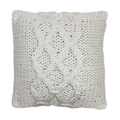 Georgia Geometric Ivory 20 in. x 20 in. Knit Decorative Throw Pillow