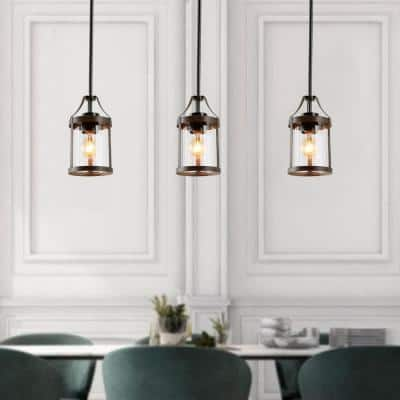 Corta 1-Light Clear Glass Pendant with Brushed Wood Accents