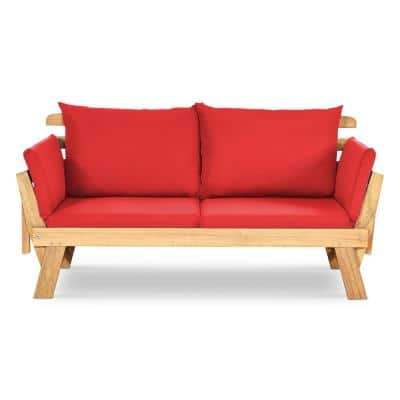 Convertible Wood Outdoor Loveseat with Red Cushions