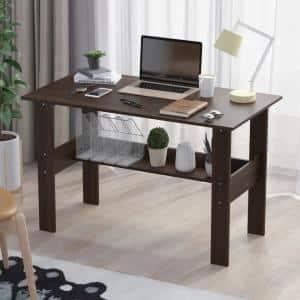 39.4 in. Rectangle Black Wulnut Wood With Shelf Writing Desk Computer Desk Study Home Office Workstation
