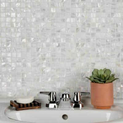 Conchella Square White 12 in. x 12 in. x 2 mm Natural Seashell Mosaic Tile (1 sq. ft./Each)