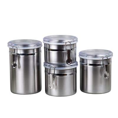 Set of 4 Pieces Stainless Steel Canister Container Set with Air Tight Lid and Locking Clamp