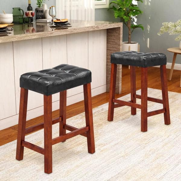 Maypex 25 Inch Upholstered Bar Stools Set Of 2 Black 300526 Blk The Home Depot