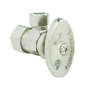 1/2 in. Comp Inlet x 3/8 in. Comp Outlet Multi-Turn Angle Valve in Satin Nickel