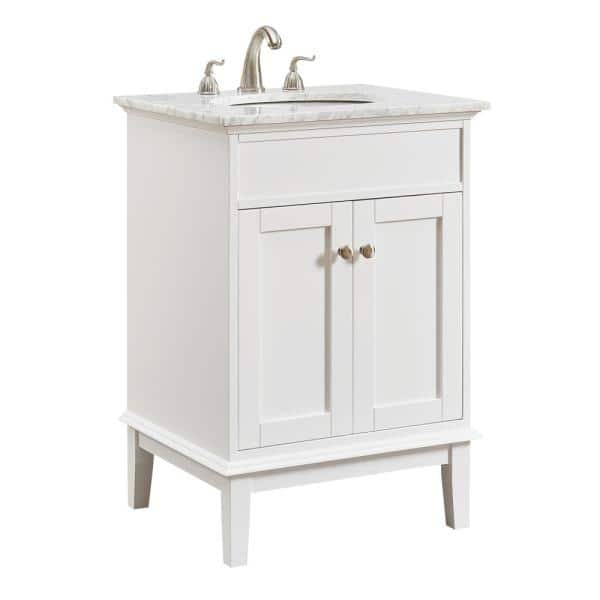 Victor 24 In Single Bathroom Vanity With 1 Shelf 2 Doors Marble Top Porcelain Sink In White Finish Hdvnt 60248wh The Home Depot