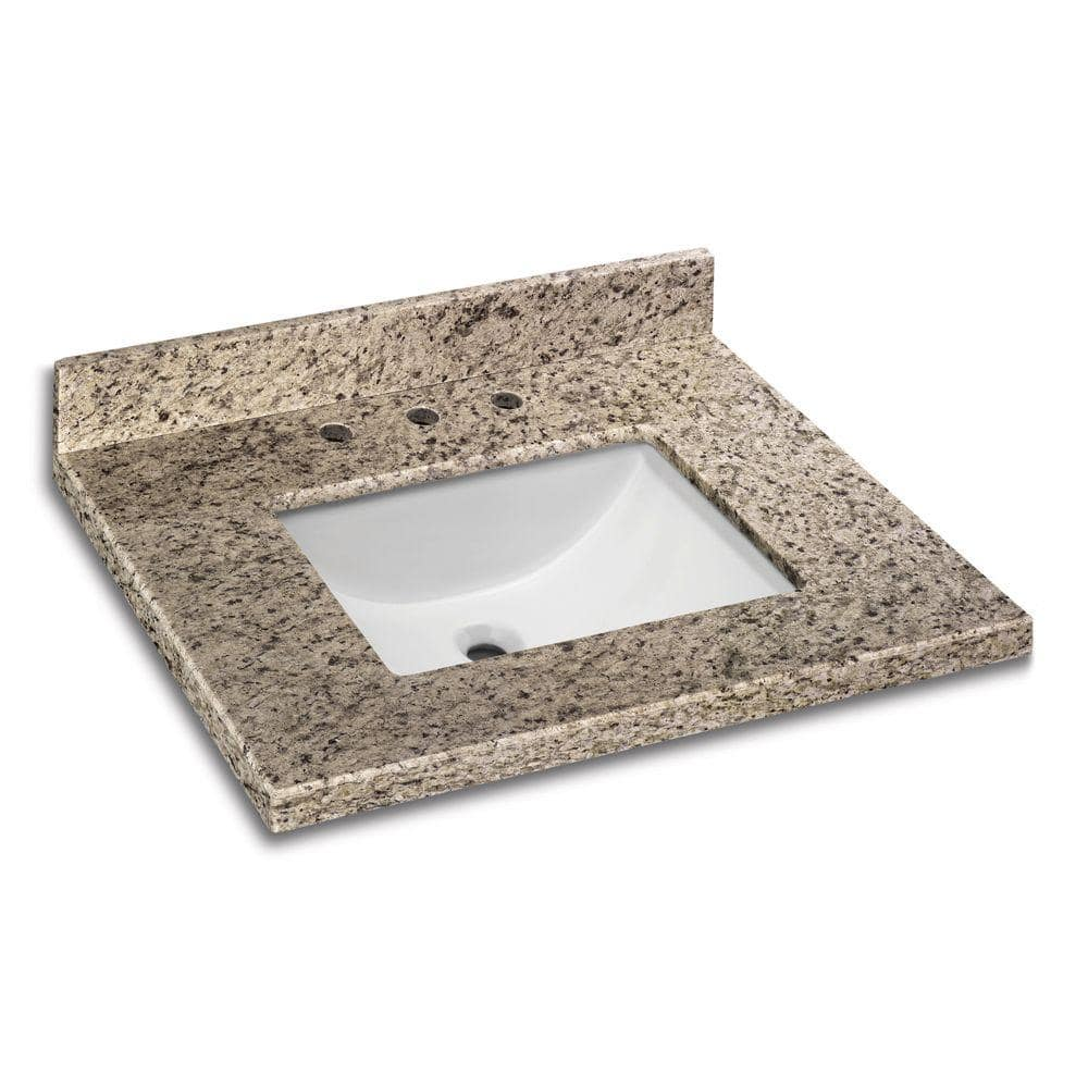 Pegasus 31 In W X 22 In D Granite Vanity Top In Giallo Ornamental With White Single Trough Basin 31886 The Home Depot