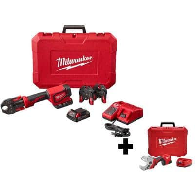 M18 18- volt Lithium-Ion Cordless Short Throw Press Tool Kit with 3 PEX Crimp Jaws with M12 PVC Shear Kit