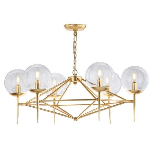 Safavieh Greyor 6 Light Gold Chandelier With Clear Globe Shade Cha4001a The Home Depot