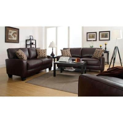 RTA Monaco 72 in. Biscuit Brown/Espresso Faux Leather 2-Seater Sofa with Removable Cushions