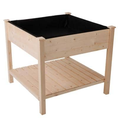 36 in. L x 36 in. W x 32 in. H Wood Square Outdoor Raised Garden Bed Planter Box with Shelf