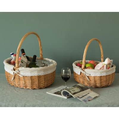 Willow Oval Shaped Bread Basket with Decorative Fabric Liner (Set of 2)