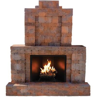RumbleStone 84 in. x 38.5 in. x 94.5 in. Outdoor Stone Fireplace in Sierra Blend