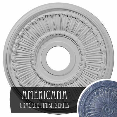 3/4 in. x 16 in. x 16 in. Polyurethane Melonie Ceiling Medallion, Americana Crackle