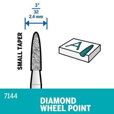3/32 in. Rotary Accessory Diamond Wheel Taper Point for Wood, Ceramic, Glass, Hardened Steel + Semi-Precious Stones