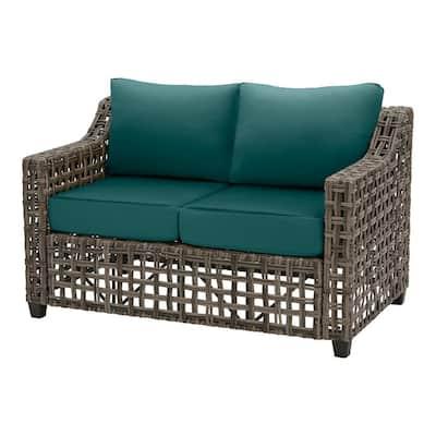 Briar Ridge Brown Wicker Outdoor Patio Loveseat with CushionGuard Malachite Green Cushions