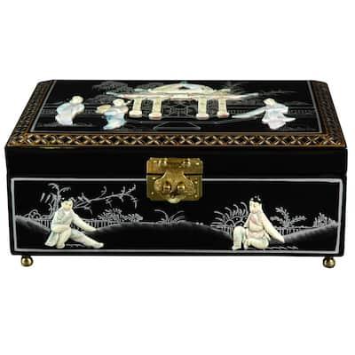 Oriental Furniture Black Clementina Lacquer Jewelry Box