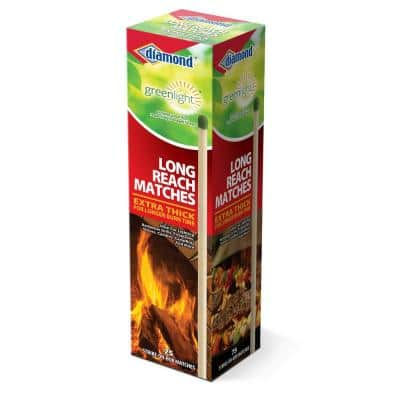 Greenlight Long Reach Matches, Large Strike On Box Matches (75-Count) for Lighting Candles, Grills, Fireplaces, Firepits