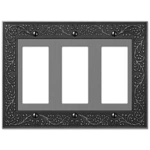 English Garden 3 Gang Rocker Metal Wall Plate - Antique Nickel