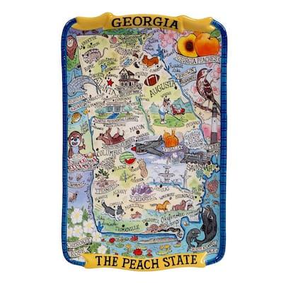Georgia Souvenir 13 in. x 8 in. Multicolored Earthenware Rectangular Platter