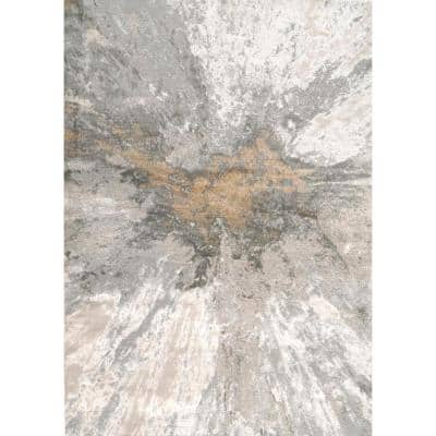 Cyn Modern Abstract Silver 7 ft. x 9 ft. Area Rug