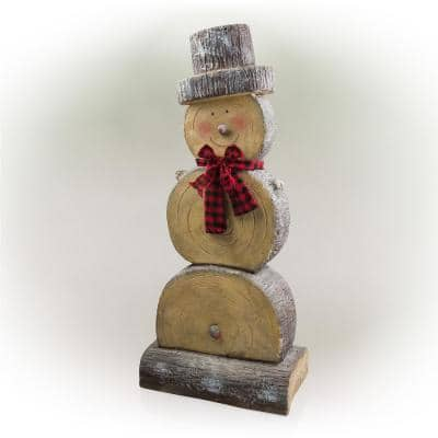 46 in. Tall Extra Large Christmas Snowman Statue with Wood Texture