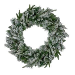 30 in. Unlit Mixed Flocked Rose Mary Emerald Angel Pine Artificial Christmas Wreath
