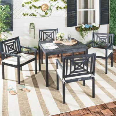 Del Mar Dark Slate Gray 5-Piece Wood Outdoor Dining Set with Beige Cushions