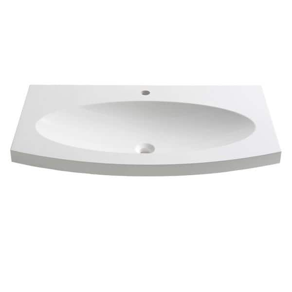 Fresca Energia 36 In Drop In Acrylic Bathroom Sink In White With Integrated Bowl Fvs5092wh The Home Depot