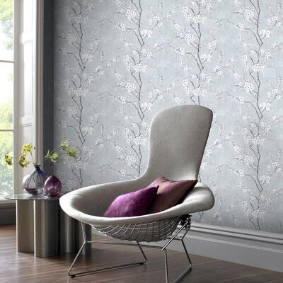 Sakura Pale Blue/Silver/Pink Pale Blue / Silver / Pink Wallpaper Sample