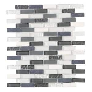 Silver Tradition Mini Brick Gray 9.75 in. x 11.875 in. Interlocking Mixed Glass and Marble Mosaic Tile