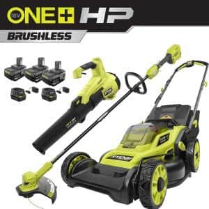ONE+ HP 18V Brushless Cordless Battery Walk Behind Push Lawn Mower/Trimmer/Blower with (3) Batteries and (2) Chargers