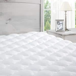 White Twin Extra Plush Mattress Pad with Fitted Skirt