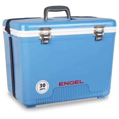 30 qt. 48-Can Lightweight Insulated Cooler Drybox, Arctic Blue