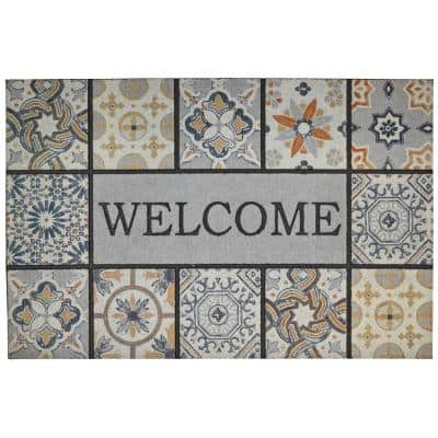 Welcome Patina Tiles Grey 23 in. x 35 in. Doorscapes Estate Mat