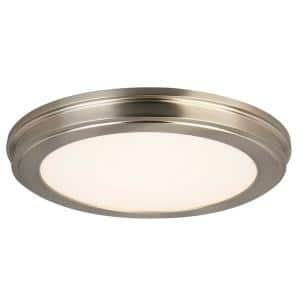 15 in. Brushed Nickel LED Ceiling Flush Mount with White Acrylic Shade (2-Pack)