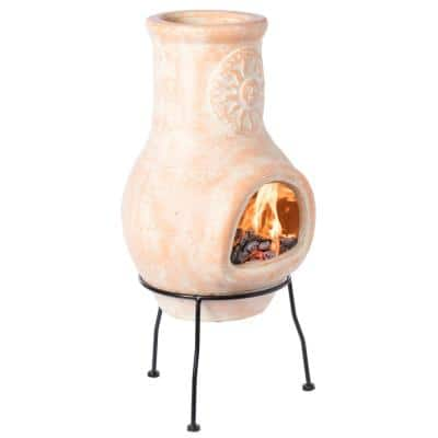 Outdoor Clay Chiminea Sun Design Charcoal Burning Fire Pit with Metal Stand