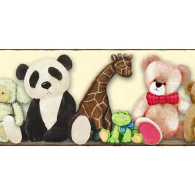 Beige, Brown, Blue, Red Teddy Bear and Animals Prepasted Wallpaper Border