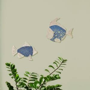 White and Blue Fish Metal Work Wall Decor (Set of 2)