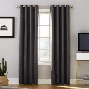 "Sun Zero Oslo Woven Home Blackout Mushroom Grommet Single Curtain Panel 52/""x 84/"""