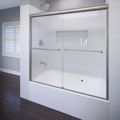 Celesta 60 in. x 58-1/4 in. AquaglideXP Clear Semi-Frameless Sliding Tub Door in Brushed Nickel