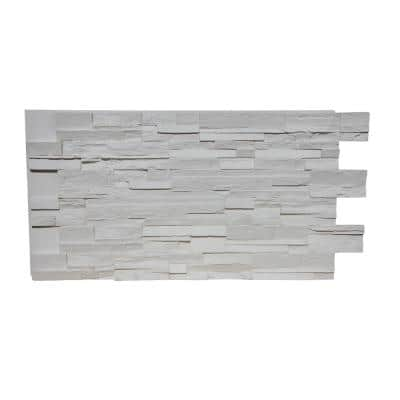 Stack Stone 48 in. x 24.25 in. Polyurethane Interlocking Siding Panel Finished in Coconut White