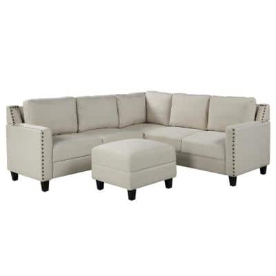 L-Shape Sofa 2 Piece Beige Fabric Right Facing Sectionals with Naihead