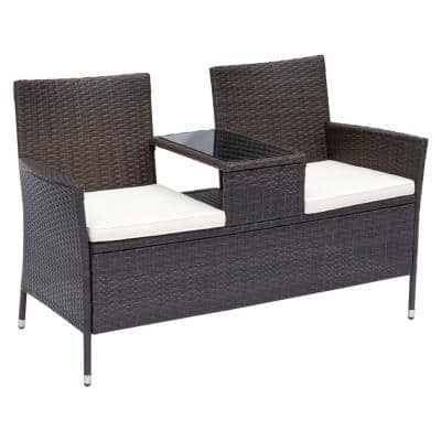 Brown Plastic Rattan Wicker Outdoor Loveseat with White Cushions and Center Tea Table for 2 People