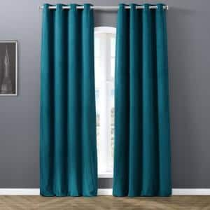 Warm Black Velvet Grommet Blackout Curtain - 50 in. W x 96 in. L