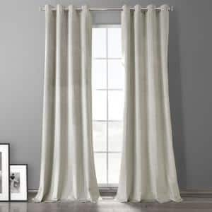 Exclusive Fabrics Furnishings Silvery Taupe Velvet Grommet Blackout Curtain 50 In W X 84 In L Vpyc Cbo1909 84 The Home Depot